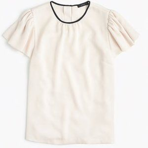 J Crew Drapey Crepe Cap Sleeve Top Blouse Ivory 10